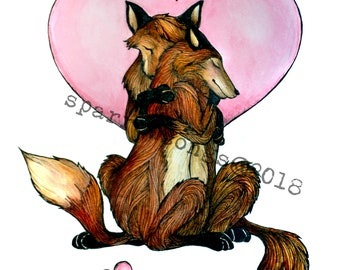 Card Foxes in Love