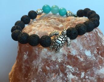 Lava Bracelets with Turtle Charm