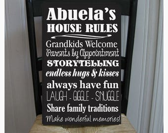 Abuela House Rules for Grandchildren with love Grandmother  Handpainted Wood Sign 16 x 10.5