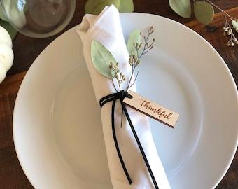 Thankful Tags- Thanksgiving Napkin Ring- One Dozen Engraved Wood