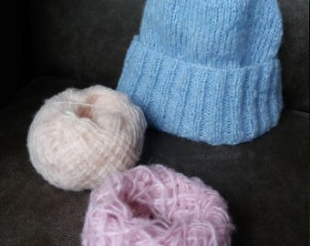 Hand knit blue hat, very cozy and beautiful