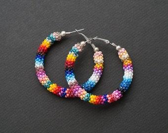 Colorful Hoop Earrings, Rainbow Earrings, Big Hoop Earrings, Summer Earrings, African Earrings, Ankara Earrings, Beadwork Hoops, Boho Hoops