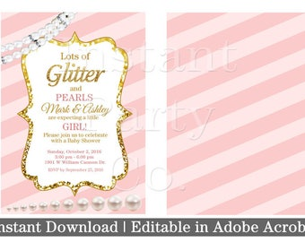 Pink and gold baby shower invitation   Girl baby shower invitation