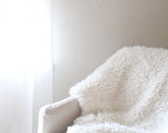 Fur Baby Blanket with Ivory Minky Back