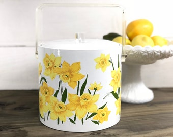 Vintage Daffodil and Lucite Ice Bucket