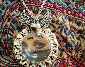 WILD HEART, Stevie Nicks, classic, photo pendant, silver tone, gypsy queen, winged heart charm, intense eyes, black moons, word art necklace