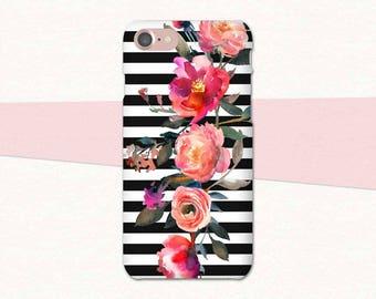 Striped Flower Phone Case, Flower iPhone Case, iPhone 6 Case, iPhone 7 Plus Case, Floral iPhone Case, iPhone 7 Case Stripes, iPhone 6 Plus