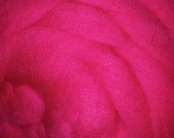 Hot Pink Wool Merino Top Roving - Spin into Yarn, Needle Felt, Wet Felt, Spinning, Felting, Weaving, Knitting, all Crafts