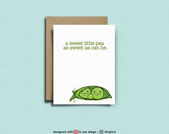 a sweet little pea, as sweet as can be | Pregnancy Congratulations, Funny Pregnancy Card, Baby Shower, Expecting Card, Pregnant Cards