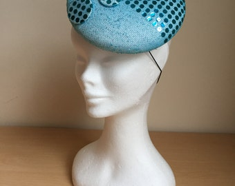 Sparkly Turquoise Sequin Headpiece, Turquoise Button, Turquoise Hat
