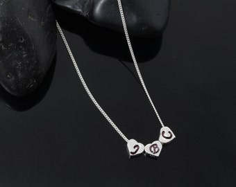 Initial necklace. Sterling Silver Heart and chain. Three initial hearts, Small Heart with initials OR not. Sisters Mothers Necklace