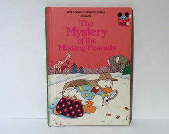 Vintage 1970s 'Mystery of the Missing Peanuts' Disneys Wonderful World, Donald Duck Hardcover