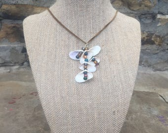 Coquina shell necklace and earring set