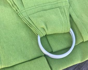 Spring Seedling Green Linen Ring Sling