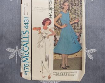 Halston Dress & Jumpsuit Pattern STRETCH KNIT Vintage #4431 McCalls Pattern 1970s Sewing Pattern Bust 32-1/2 Hip 34-1/2 Waist 25