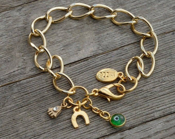 Gold Link Bracelet with Good Luck Charms