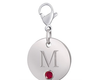 Initial M Disc Charm With Personalized Birthstone In Sterling Silver