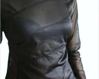Vintage 90's Black Mesh Hooded Top Long Sleeves See Thru