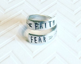 Faith Over Fear Ring - Silver Wrap Ring - Hand Stamped Ring - Gift For Her - Religious Ring - Graduation Gift - Skinny Block Font