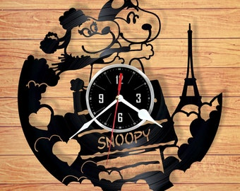 Snoopy vinyl record wall clock handmade home decor unique gift for your friend for any occasion