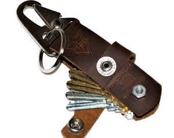 JP Leathercraft Handmade CLAVIS keychain Key Keeper Sunset Oil Tan Leather