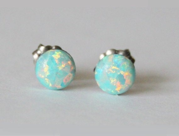 round fire silver cut mexican opal earrings stud sterling