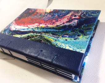 Coptic Stitch Journal/Hand Painted Covers/Leather Detail