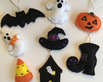 Halloween decorations, Halloween decor, Halloween ornaments, felt ghost ornaments,felt pumpkin ornaments, bat ornaments, candy corn ornament