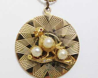Vintage Pendant: Gold Tone Bird Medallion with Pearls