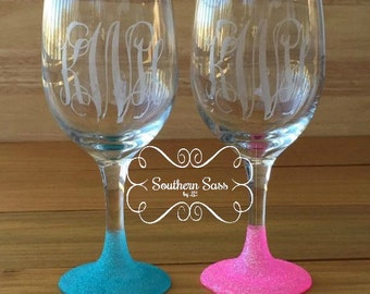 Monogrammed Glitter Wine Glasses - Etched
