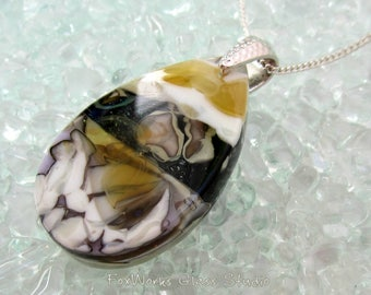 Fused glass earth tone pebble pendant