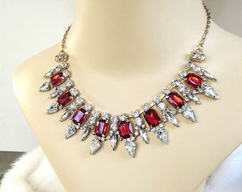 Red and Clear Rhinestone Bib Necklace Vintage Bridal Wedding