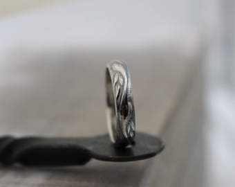 Pattern Sterling Silver Ring Band - Rustic Wedding Band