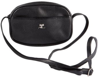 Courreges Black Leather Shoulder Bag