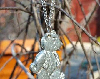 Pewter Teddy Bear Pendant/Necklace. Perfect For The Teddy Bear Lover. Teddy Bear Collector! Teddy Bears Rock!