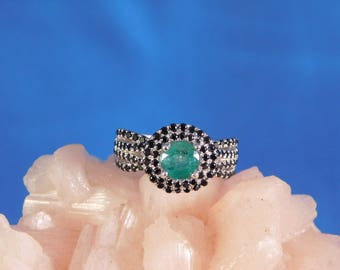 0.64 ct. Round Columbian Emerald and Black Spinel Sterling Silver Ring