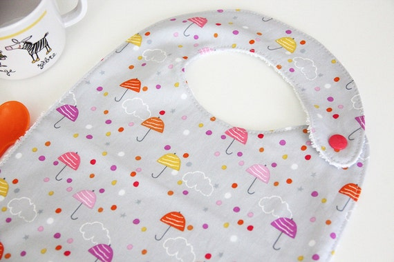 Baby bib - umbrellas and clouds - gray - pink - coral - yellow - white - baby gift - baby shower - baby meal - bamboo terry cloth