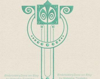 Ornament Art Nouveau 11 machine Embroidery design.  Art Deco embroidery design. 2 sizes. Hoop  6x10.