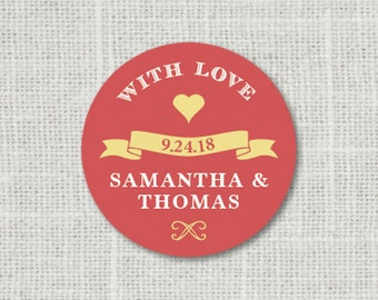 With Love Stickers, Custom With Love Wedding Labels, Favor Stickers, Mason Jar Labels, Wedding Envelope Seals