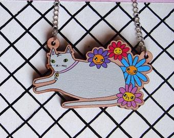 Flower Cat Necklace - Laser Cut Cat Necklace - Wooden Cat Necklace - I like Cats - Flowers - Cat - laser cut necklace - laser cut cat - cats