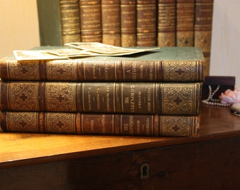 Antique Victor Hugo book, circa 1900, quarter leather bound, French antique book, 19th century
