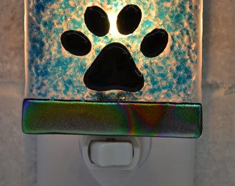 Paw Print Fused Glass Night Light with Dichroic Glass Borders