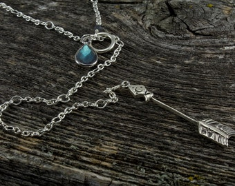 Sterling Silver Arrow Lariat with Labradorite