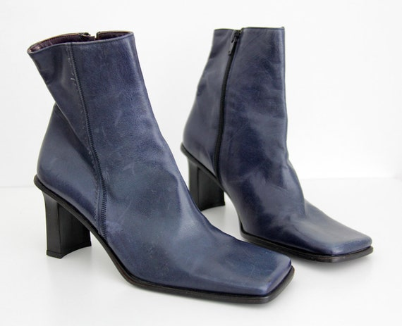 Heel Ankle Laura Boots Square Block Boots Vintage Booties 1990s Bellariva Heel Leather Toe Blue SgYqBw