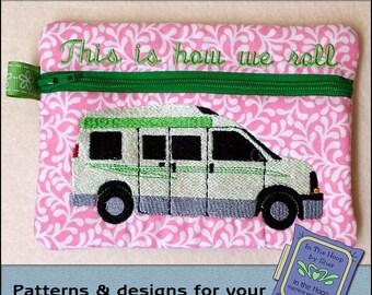 ITH Travel Van Zipper Bag - Fully Lined - In The Hoop Zipper Bag - Class B Camper Zipper Bag - Embroidery Design - 5 x 7 Hoop