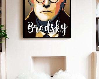 Joseph Brodsky printable portrait,Russian American poet digital portrait,wall art,