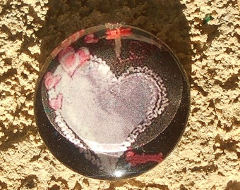 Glass cabochon 14 mm heart design collection