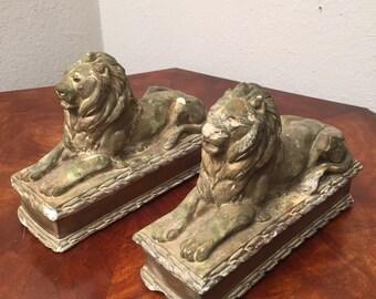 2 Antique Chalkware Plaster Lion Set - Art Sculpture Bookends Figures