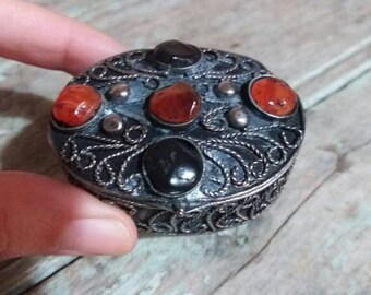 Vintage Ring Trinket Box,Jewellery Container,Gift,Stones On Lid,Gift For Her,Pill Box,Decorative,Small,Vintage Box