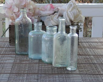 Handblown Sea Glass Blue Bottles, Set of 5, Beach Cottage Sea Green Aqua, Antique, Soda Bottles, Diffuser Bottles Collection 3